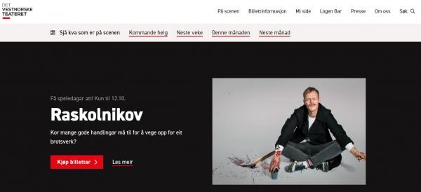 Skjermbilde av hjemmesiden